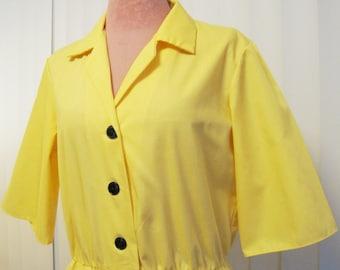 Vintage 1970s Sunny Yellow Shirtdress
