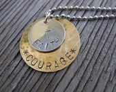 Hand stamped pendant sterling silver and brass- Courage on 18 inch ball chain