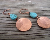Earrings -hand textured copper with turquoise drops- serenity- ready to ship