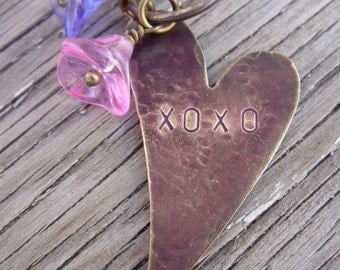Necklace- xoxo hand stamped heart glass flowers pearls crystals Valentines day gift handmade jewelry gift for girlfriend