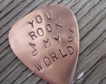 Guitar Pick Copper  Hand stamped You rock my world- ready to ship
