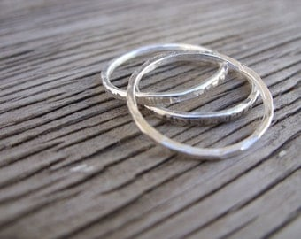 Triple stack- fine silver skinny stacking rings- 3 rings- stacker rings handmade forged fine silver rings