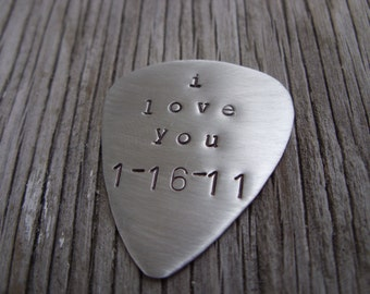 Hand stamped custom nickel silver guitar pick fun musician gift personalized guitar pick guitarist gift wedding party Christmas gift
