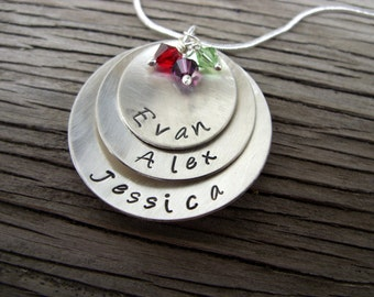 Triple stacked hand stamped sterling pendant custom gift for Mommy or Grandma