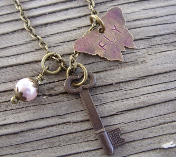 Necklace- handstamped butterfly on Antique Brass Chain with pearl and key- Fly Butterfly Fly