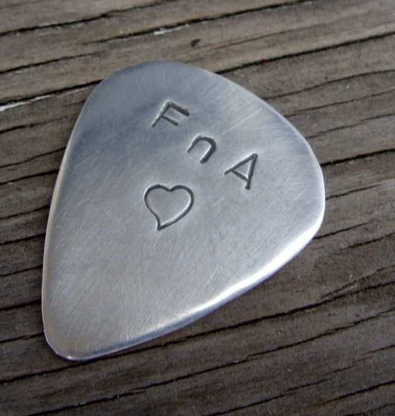 Hand stamped custom guitar pick sterling silver personalized guitar pick plectrum anniversary gift for men music lovers gift guitarist gift
