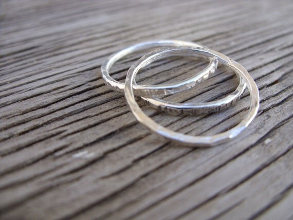 Fine silver skinny stacking ring- ONE ring- stacker ring handmade forged fine silver ring