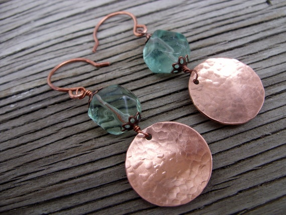 Earrings -hand textured copper with green flourite nuggets- copper skies