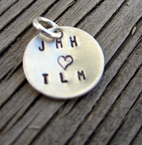 Hand stamped charm 1/2 inch tasty tag sterling silver custom ONE charm