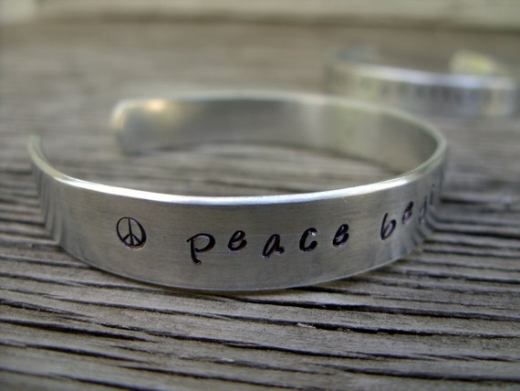 Hand stamped cuff bracelet 3/8 inch aluminum Peace begins with a smile ONE bracelet ready to ship
