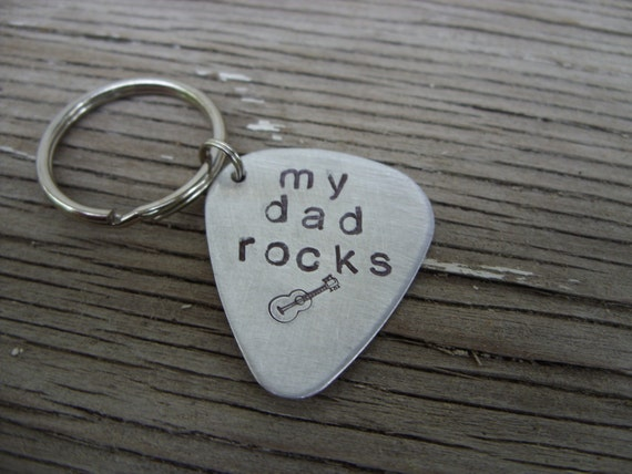 Hand stamped aluminum guitar pick key chain- my dad rocks- ready to ship