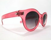 VIntage NOS Swatch Style Cateye Sunglasses Clear pink frames Round