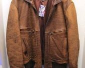 Unisex Brown Leather Bomber Jacket Classic 80s