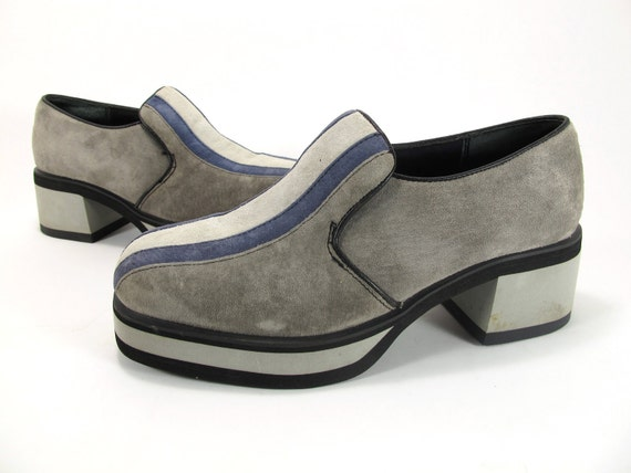 Vintage 70s 90s Hush Puppies Platform Striped Grey Suede Ladies 7
