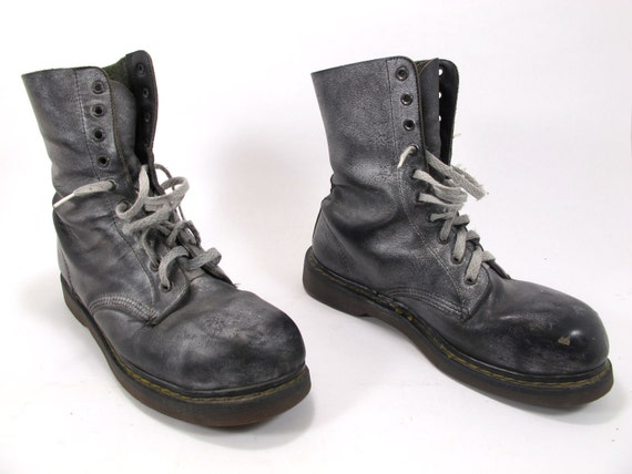 Vintage Doc Martens Steel Toe 10 hole boots silver over spray UK size 8p