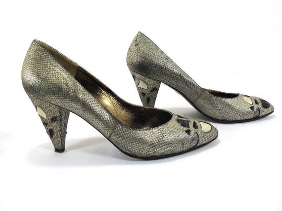 Pupi D'Angieri Gold and Black Metallic Heels with Lizard Inlay 1980s Size 8