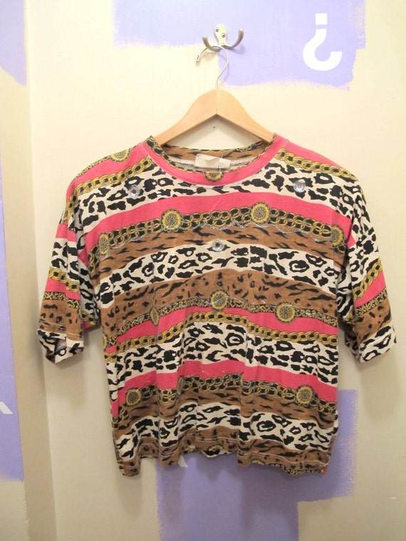 Wild Pattern Pink Chain and Leopard Striped 80s Tshirt Top