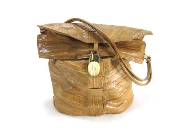 Eel Skin Bucket Purse in Latte Brown 1980s Gold tone Details