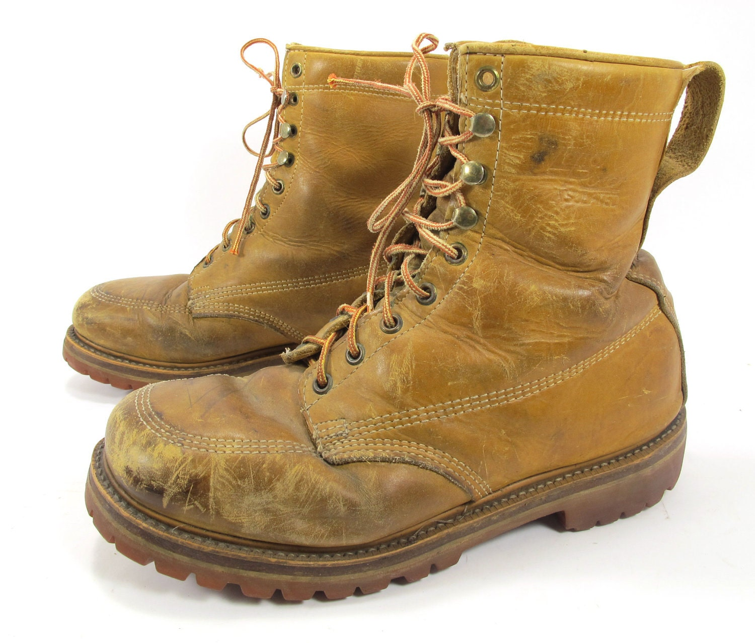 vintage land rover work boots lineman vibram soles size 10 5. Black Bedroom Furniture Sets. Home Design Ideas