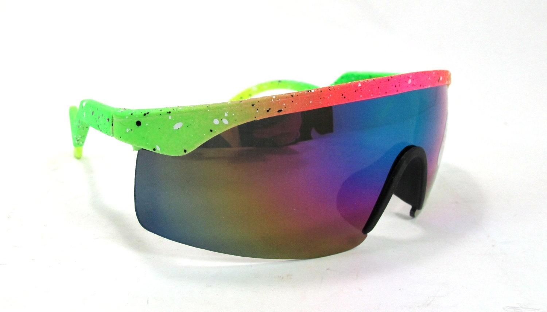 Nos Vintage Neon Blade Style Sunglasses Sheild Visor