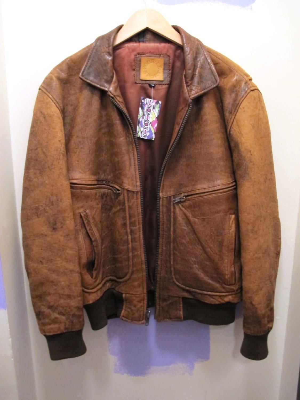 Unisex Brown Leather Bomber Jacket Classic 80s by Kokorokoko