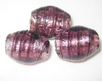 Jumbo Burgandy FOIL GLASS Beads - Set of 3 - 22x18mm
