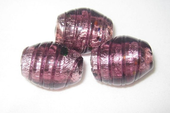 Jumbo Burgandy FOIL GLASS Beads - Set of 3 - 22x18mm