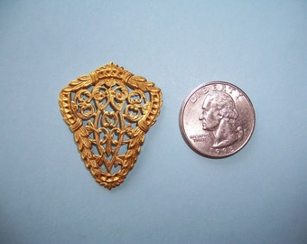 6 pcs.,  Vintage Stamping, Large  Shield, Dapped Brass Toppers, Open Work Heraldic Finding, Spaces for Stones
