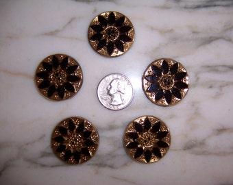 5 pieces, Vintage Large Intaglio Cameo Glass Stone 31mm, Jet Black, Gold, Flower Motif