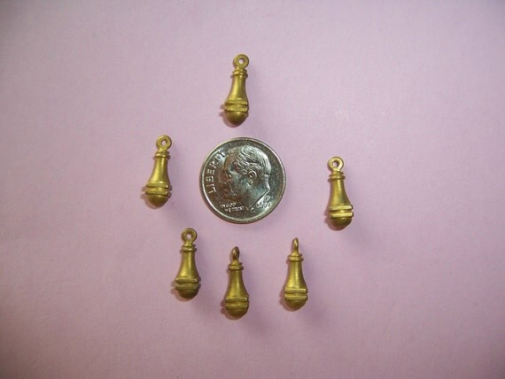 6 pcs., Fabulous Vintage Solid Brass, Dimensional Dangles, Great Classic Roman Style
