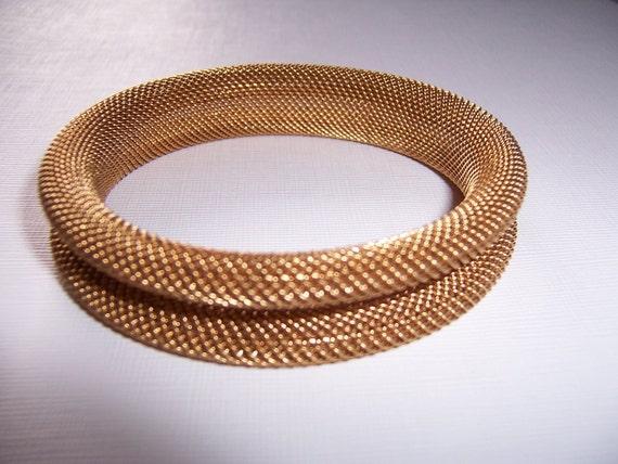 Vintage, Wide Mesh Bracelet, Brass, Sculptural Soft Bangle, Great Style