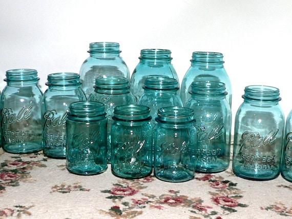 15 Vintage Blue Ball Mason Quart Jars Wedding Vases