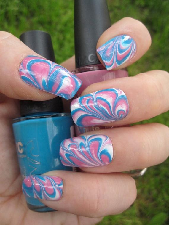 Bubble Nails: Bubble Gum Pink Blue & White Marbled Nail Art Set Of 24