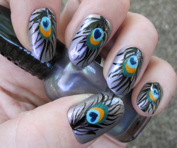 Peacock Feather Iridescent Nail Art - Hand Painted Fake Nails set of 20 - Ready to Ship