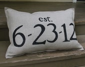 "Custom Wedding Date Gift Lumbar Pillow 16""x20"" Belgian Linen with Hand Painted Text"