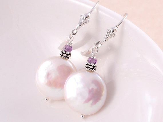 RESERVED - Coin Pearl Earrings - Bridal Jewelry - Lever Back - Sterling Silver Jewelry