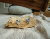 Tiny Hammered Heart Earrings
