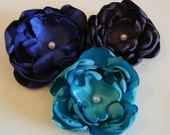 Set of 3 Dark Colors Singed Edge Silk Satin Flower Hair Clips - Dark Purple, Teal & Navy Blue