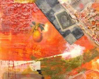 Beeswax Encaustic Abstract Collage Painting Italian images