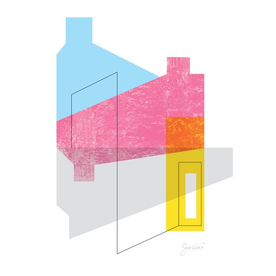 contemporary art print, modern, architectural, abstract, fine art with a mid century feel