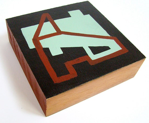 original geometric painting, architecturally inspired, contemporary with a mid-century modern feel