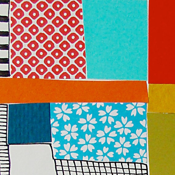 Original Collage, Modern, One of a Kind, Abstract Contemporary Art, Indie Quilt