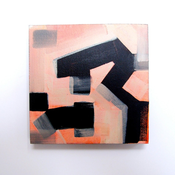 Oil Painting, Original, Modern Art, Contemporary, Pink Industrial, Geometric, Abstract, 6x6