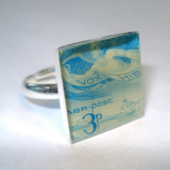 Irish Angel Postage Stamp Ring