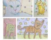 4 Note Cards, Cats in Waiting