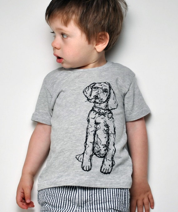 Dog Thread Drawing Tee- Toddler (12-18m )