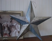 A Rustic Country themed Tin Barn Star... In Designer Prints of Country Blue and Brown... Damask, Toile,... Home Decor, Wall Hanging