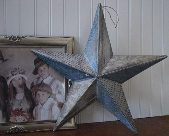 Items similar to a rustic country themed tin barn star for Country star decorations home