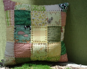 Farm Country Patchwork Pillow