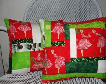 Pair Christmas Quilted Pillows
